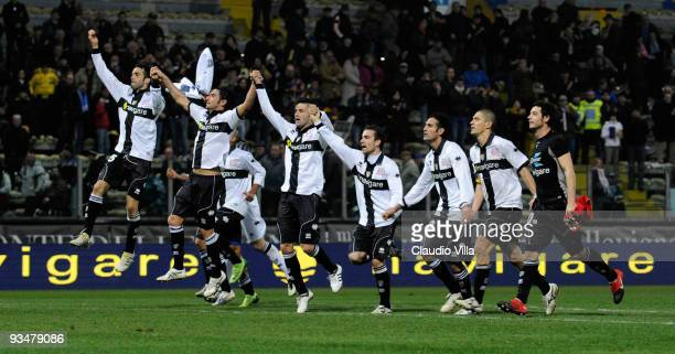 Parma FC players celebrate after Nicola Amoruso scores their first goal from the penalty spot during the Serie A match between Parma and Napoli at...