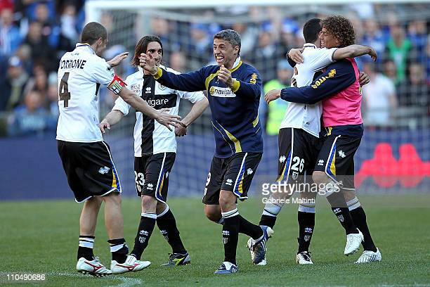 Parma FC players celebrate victory at the close of the Serie A match between UC Sampdoria v Parma FC at Stadio Luigi Ferraris on March 20, 2011 in...