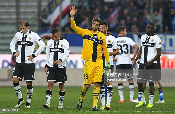Parma FC players show their dejection at the end of the Serie A match between Parma FC and UC Sampdoria at Stadio Ennio Tardini on January 18 2015 in...