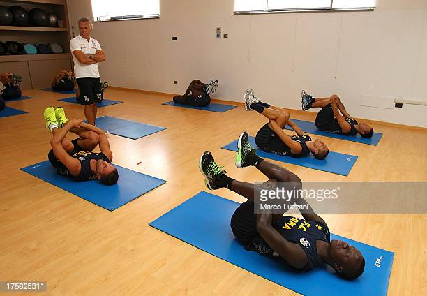 Parma FC players train in the gym at Park Hotel Ai Cappucini on August 5 2013 in Gubbio Italy