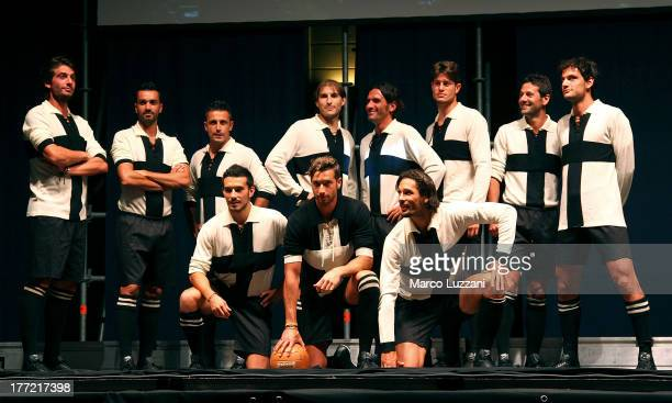 Parma FC players wear the 100th anniversary team kit at FC Parma Team Presentation on August 22 2013 in Parma Italy