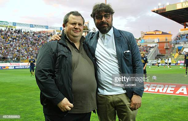 Parma FC president Tommaso Ghirardi and General Manager of Parma FC Pietro Leonardi look on before the Serie A match between Parma FC and AS Livorno...