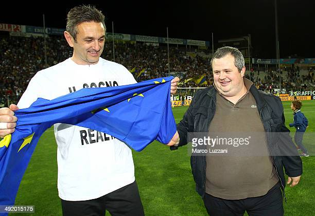 Parma FC president Tommaso Ghirardi and Nicola Pavarini celebrate the qualification at UEFA Europa League 2014/15 at the end of the Serie A match...