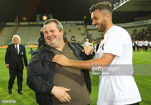 Parma FC president Tommaso Ghirardi and Raffaele Palladino celebrate the qualification at UEFA Europa League 2014/15 at the end of the Serie A match...