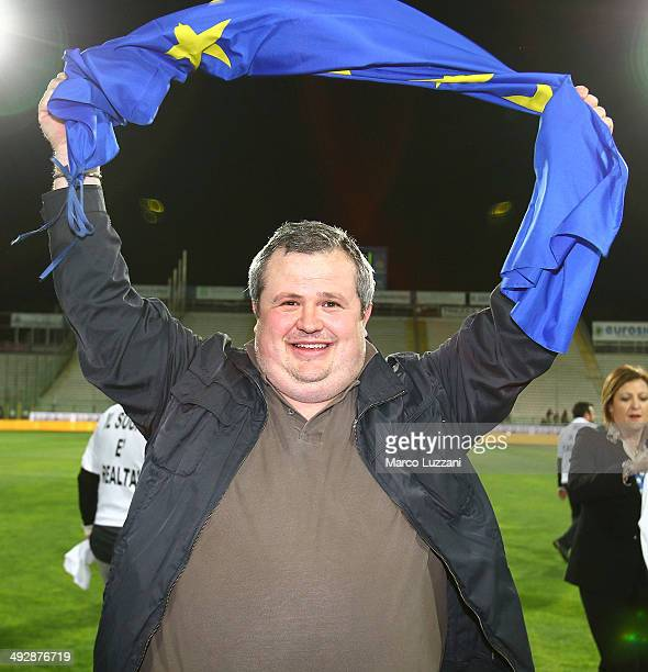 Parma FC president Tommaso Ghirardi celebrates the qualification at UEFA Europa League 2014/15 at the end of the Serie A match between Parma FC and...
