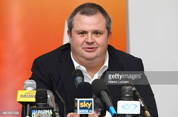 Parma FC President Tommaso Ghirardi speaks to the media durin a press conference to announce the club's partnership with Energy T.I. Group, who will...