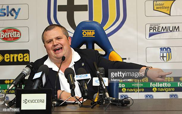 Parma FC President Tommaso Ghirardi speaks to the media during a press conference at the club's training ground on May 30, 2014 in Collecchio, Italy.