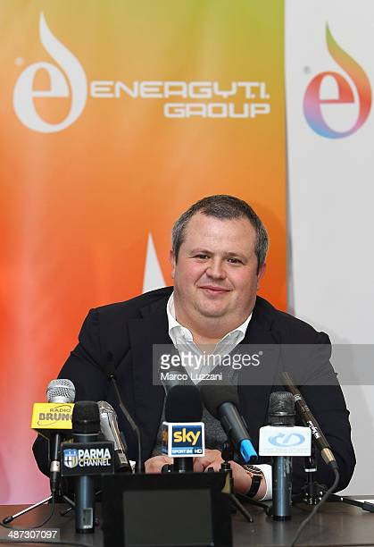 Parma FC President Tommaso Ghirardi speaks to the media during a press conference to announce the club's partnership with Energy T.I. Group, who will...