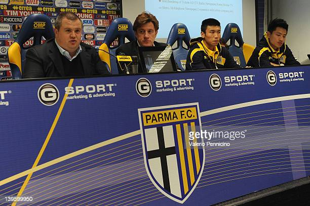 Parma FC President Tommaso Ghirardi talks to the media during a press conference to officially annouce the partnership between Parma FC and Jangsu...