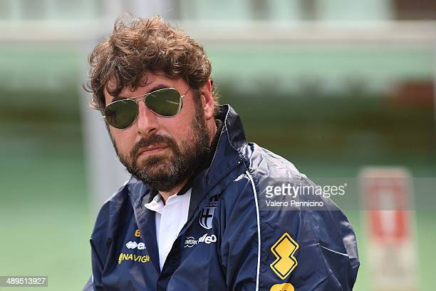 Parma FC team manager Pietro Leonardi looks on during the Serie A match between Torino FC and Parma FC at Stadio Olimpico di Torino on May 11 2014 in...