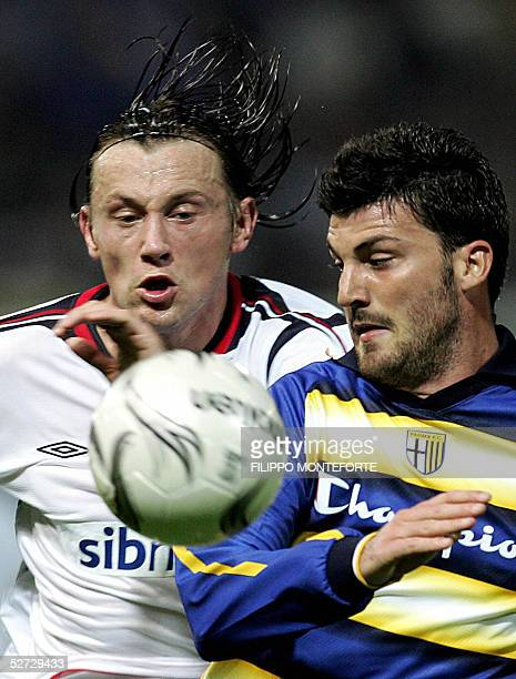 Parma FC's Cesare Bovo vies with Ivica Olic of CSKA Moskva during their Uefa Cup semi-final first leg football match in Parma's Tardini Stadium 28...