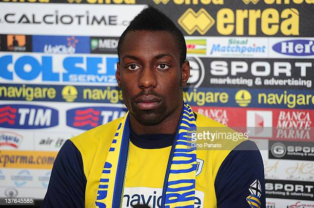 Parma FC's new loan signing Stefano Okaka speaks to the media during a Parma FC Press conference held close to the Parma FC training centre on...