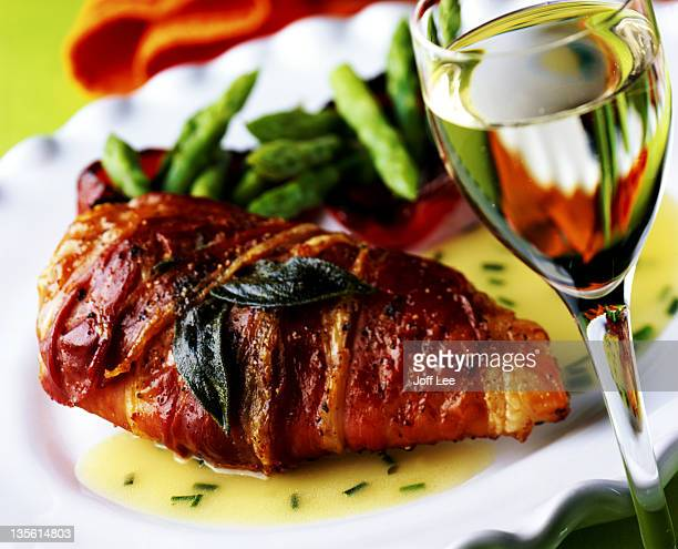 Parma ham wrapped chicken breast with chive & butter sauce