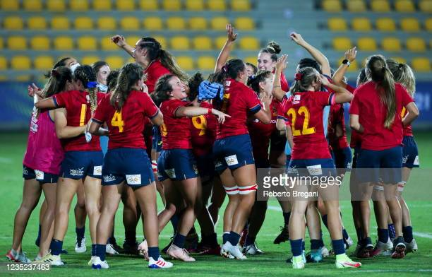 Parma , Italy - 13 September 2021; Spain players celebrate after the Rugby World Cup 2022 Europe Qualifying Tournament match between Spain and...