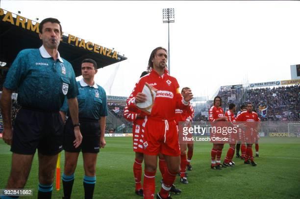 Parma Serie A ParmaFiorentian Fiorentina captain Gabriel Batistuta standing next to the referee holding a pennant