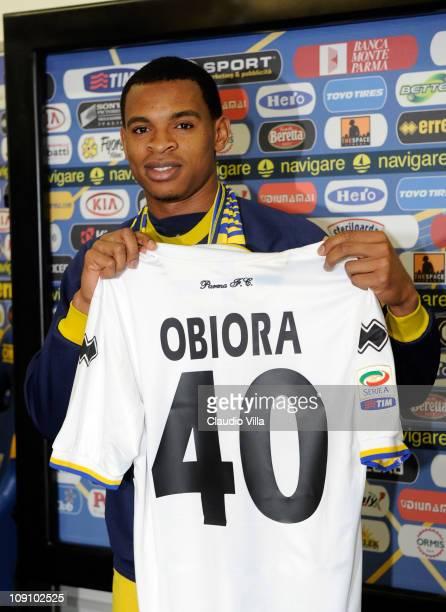 Parma Unveils New Player Nwankwo Obiorah at Stadio Ennio Tardini on February 15, 2011 in Parma, Italy.