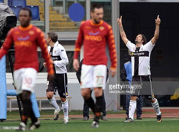 Parma's Brazilian foward Amauri celebrates after scoring his second goal against Roma during their Serie A football match at the Olympic stadium in...