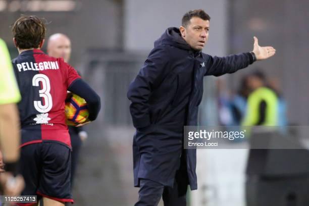 PArma's coach Roberto D'Aversa reacts during the Serie A match between Cagliari and Parma Calcio at Sardegna Arena on February 16 2019 in Cagliari...