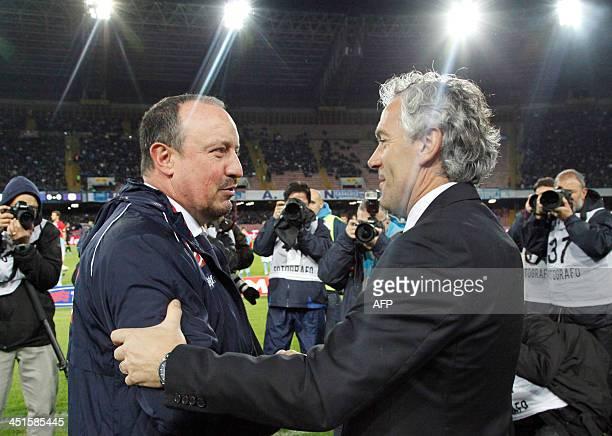 Parma's coach Roberto Donadoni shakes hands with Napoli's Spanish headcoach Rafael Benitez during the Serie A football match SSC Napoli vs Parma FC...