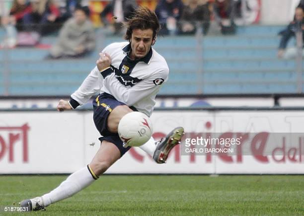 Parma's forward Alberto Gilardino kicks the ball during their Italian Serie A football match against AS Roma at Olympic stadium in Rome 19 December...
