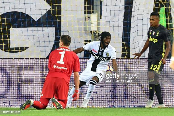 Parma's Ivorian forward Gervinho celebrates after scoring a goal during the Italian Serie A football match Parma vs Juventus on September 1 2018 at...