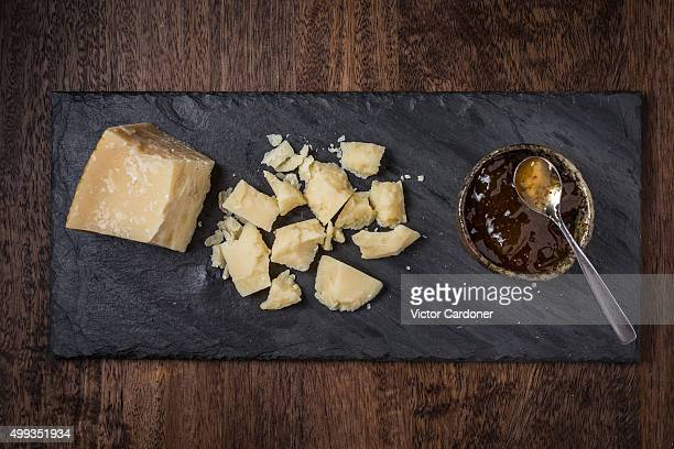 Parmesan cheese and fig preserve