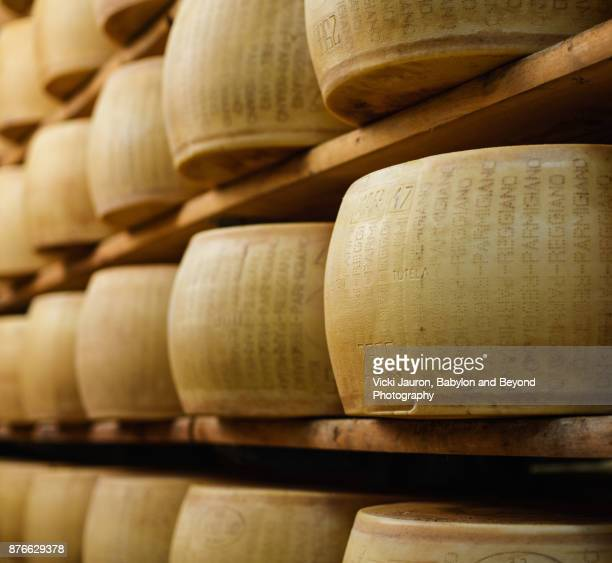 parmesan cheese in emilia-romagna, italy - parmesan cheese stock pictures, royalty-free photos & images