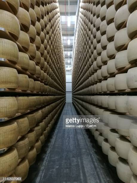 parmesan cheese on shelves in warehouse - parmesan stock pictures, royalty-free photos & images