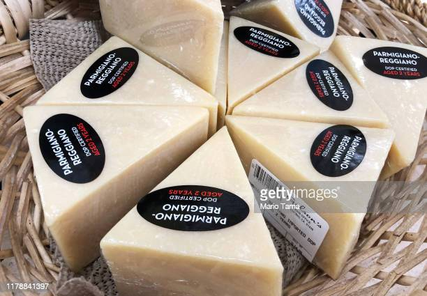 Parmigiano Reggiano cheese from Italy is displayed for sale in a grocery store on October 3 2019 in Los Angeles California The Trump administration...