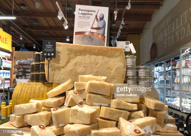 Parmigiano Reggiano cheese imported from Italy is displayed at a Whole Foods store on August 26 2019 in Mill Valley California The United States has...