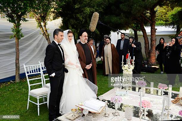 Parmis Taheri and Mostafa Aghaei make a souvenir photo with ex president Khatami after their wedding sermons at the social club of Mining Industry...