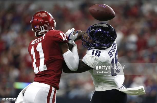 Parnell Motley of the Oklahoma Sooners breaks up a pass intended for Jalen Reagor of the TCU Horned Frogs in the first half of the Big 12...