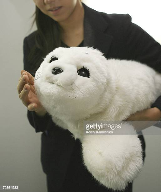 Paro a therapeutic seallike robot created by the National Institute of Advance Industrial Science and Technology is displayed during the 2006 Robot...