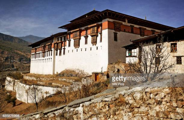 Paro Dzong in Bhutan Digitally Manipulated Image Stylised by enhancing color sharpening and adding texture