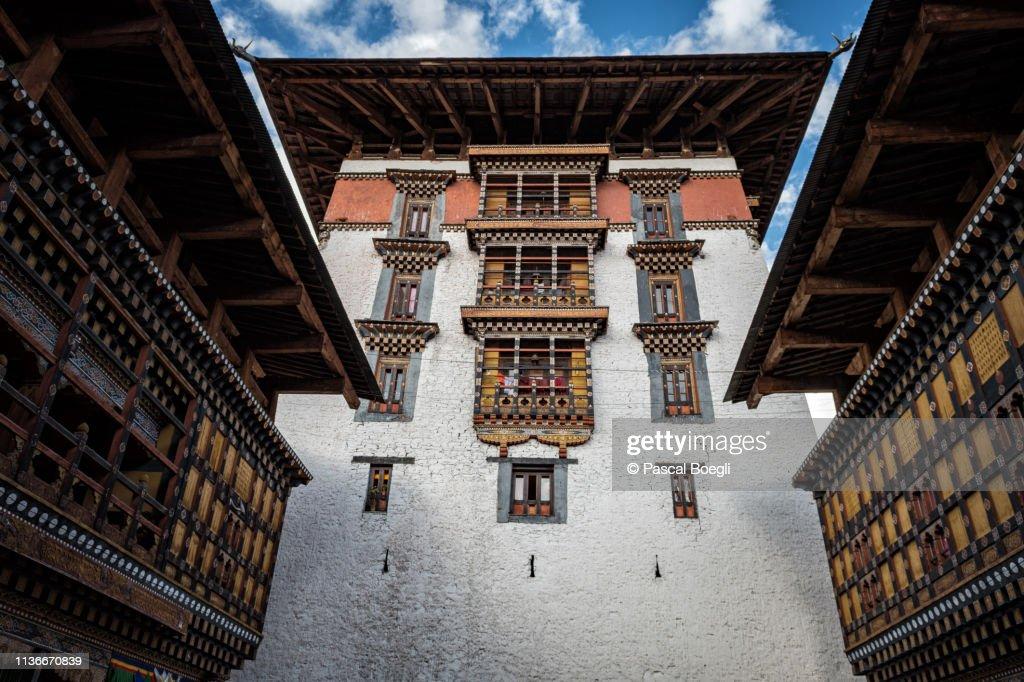 Paro dzong (Rinpung Dzong) tower, Bhutan : Stock Photo
