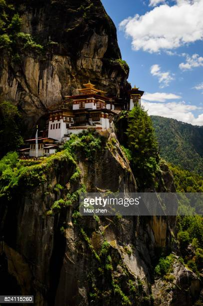 paro taktsang monastery on the cliff, bhutan. - paro stock photos and pictures