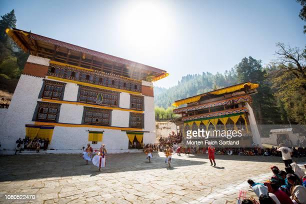 Paro Tsechu Celebrations at Rinpung Dzong Monastery in Paro, Bhutan Springtime