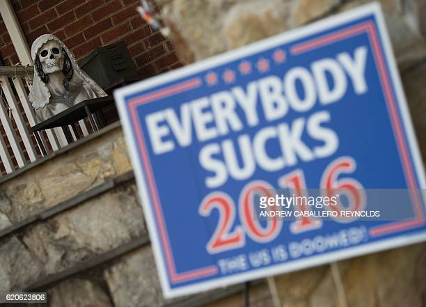 A parody election sign is seen in the yard of James Hurd in Arlington Virginia on November 2 2016 Insults obscenities and vitriol together with the...