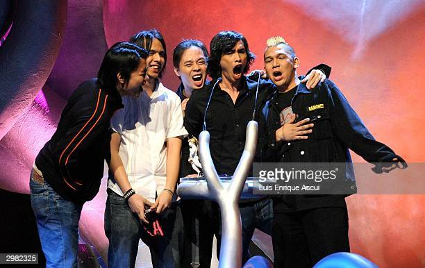 "Parokya ni Edgar of the Philippines performs after receiving their award for favorite artist in the Philippines on stage during ""MTV Asia Awards..."