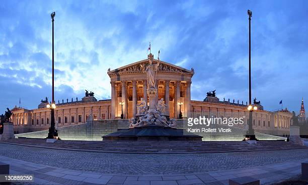 Paroramic view of the Parliament on Ringstrasse at blue hour, Vienna, Austria, Europe
