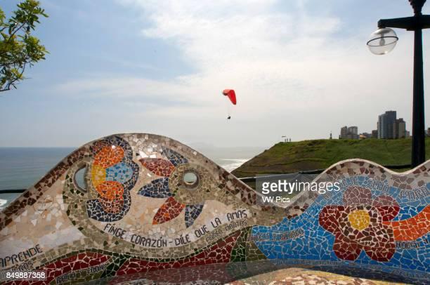 Parque del Amor Miraflores Lima Peru Tiled curved wall in El Parque del Amor overlooking ocean Miraflores Lima Peru South America