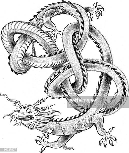 Parra black and white illustration of Chinese dragon with body twisted into a complicated knot Can be used with stories about tainted Chinese imports