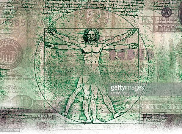 Parra color illustration of Da Vinci's Vitruvian Man over US currency
