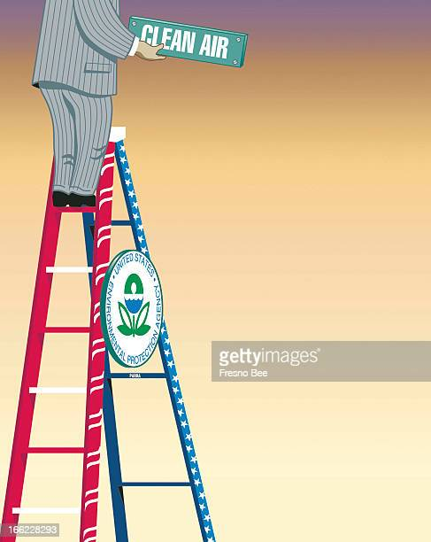 Parra color illustration of executive raising 'Clean Air' sign while balancing on redwhiteandblue Environmental Protection Agency ladder