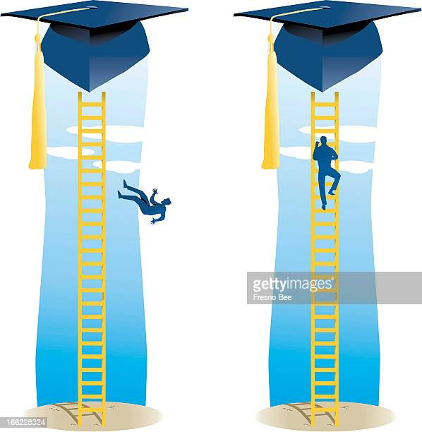 Parra color illustration of man falling off ladder leading up to graduation cap and climbing the ladder