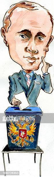 Parra color illustration of Russian President Vladimir Putin placing vote in Russian ballot box