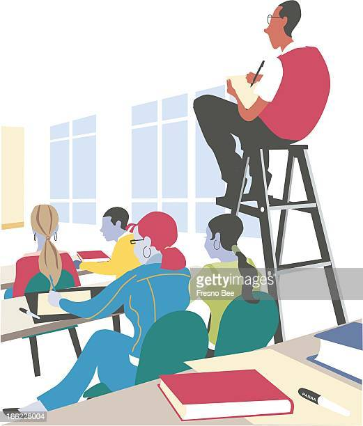 Parra color illustration of student taking classroom notes from his perch on a ladder