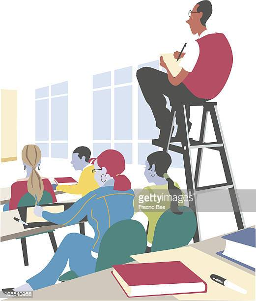 Parra color illustration of students in a classroom with one student high atop a ladder titled 'Overachievers'