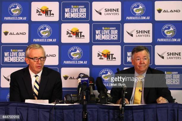 Parramatta Eels CEO Bernie Gurr and Parramatta Eels Chairman Max Donnelly announce the new Board of Directors during a Parramatta Eels NRL media...