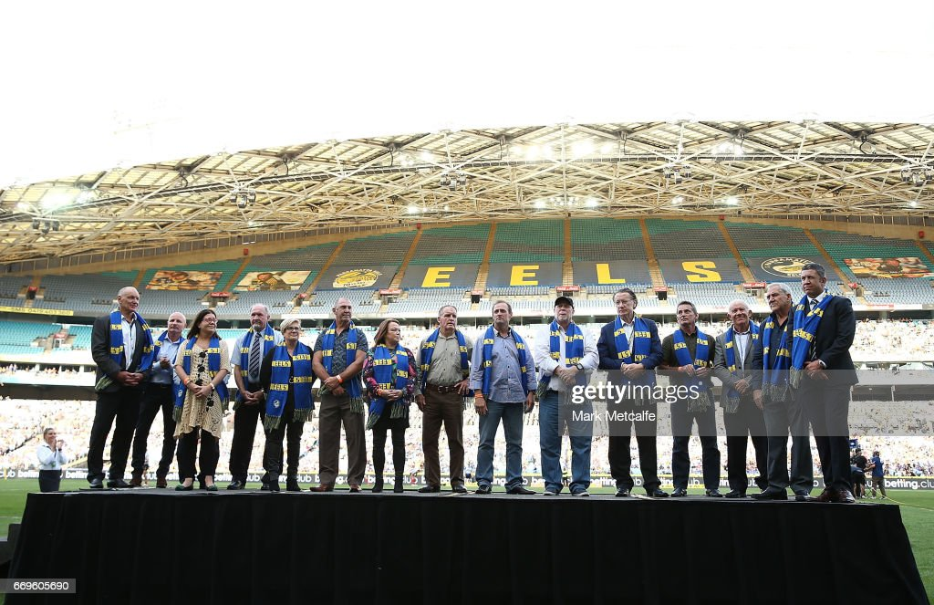 Parramatta Eels honour its 'Hall of Fame' Members before the round seven NRL match between the Parramatta Eels and the Wests Tigers at ANZ Stadium on April 17, 2017 in Sydney, Australia.